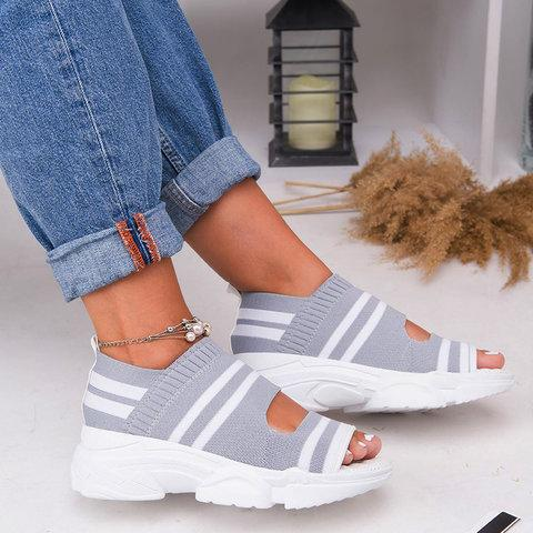 Soft Breathable Sport Sandals Hollow Out Peep Toe Chunky Comfy Sandals - fashionshoeshouse