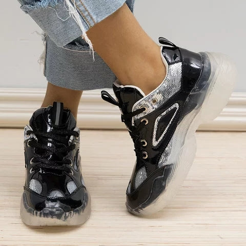 Women Fashion Chunky Heel Platform Sneakers - fashionshoeshouse