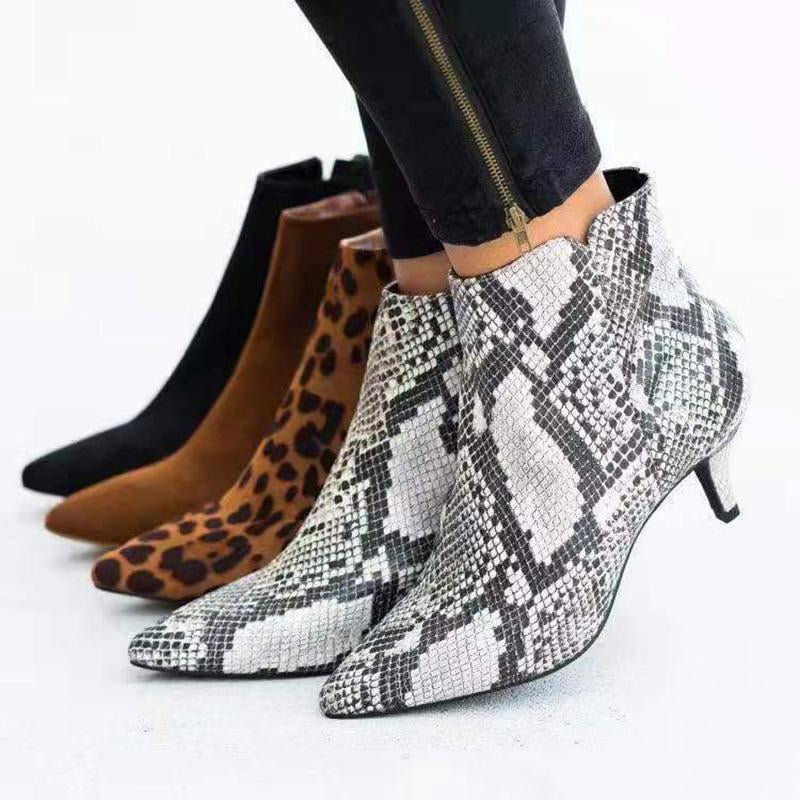 Women Stilettos Pointed Toe Leopard Snakeskin Zipper Suede Boots - fashionshoeshouse