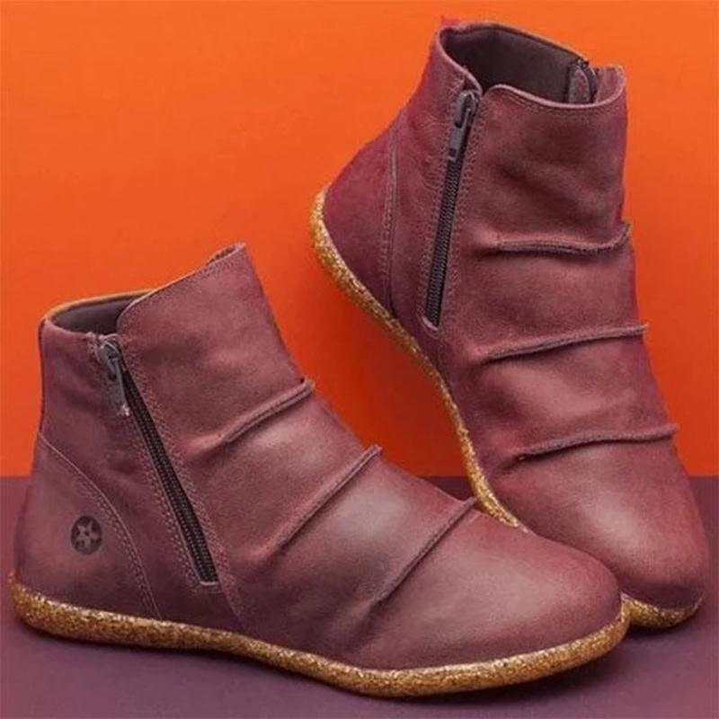 Women Autumn Pure Color Zipper Flat Heel Ethnic Short Boots - fashionshoeshouse