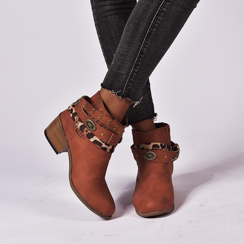 Vintage Elastic Lace Up Rivet Chunky Heel Women Short Boots - fashionshoeshouse