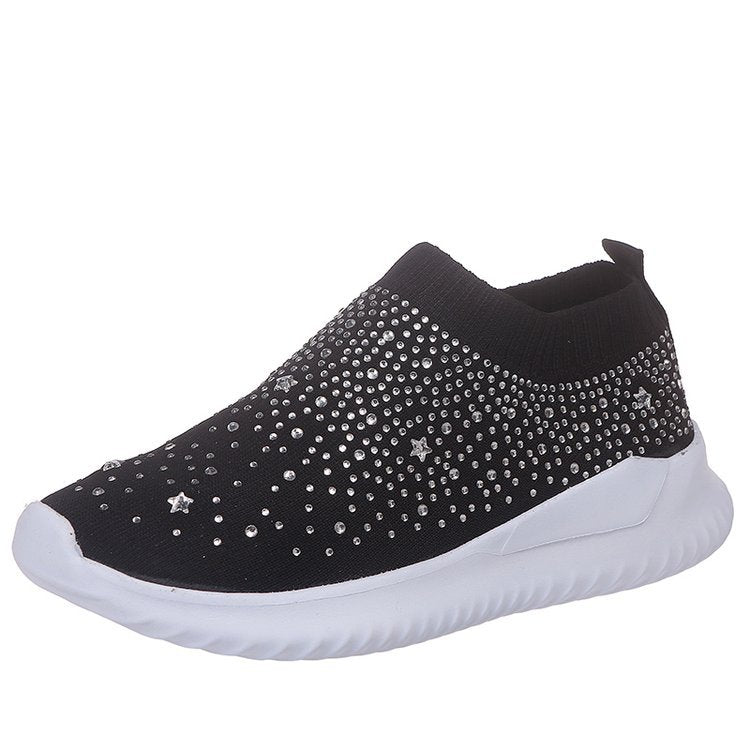 Women Rhinestone Sneakers Soft Breathable Sock Sneakers - fashionshoeshouse