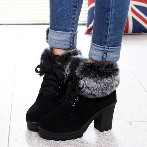 Women's chunky block heel fashion fur trim cotton lining warm non-slip snow boots lace-up