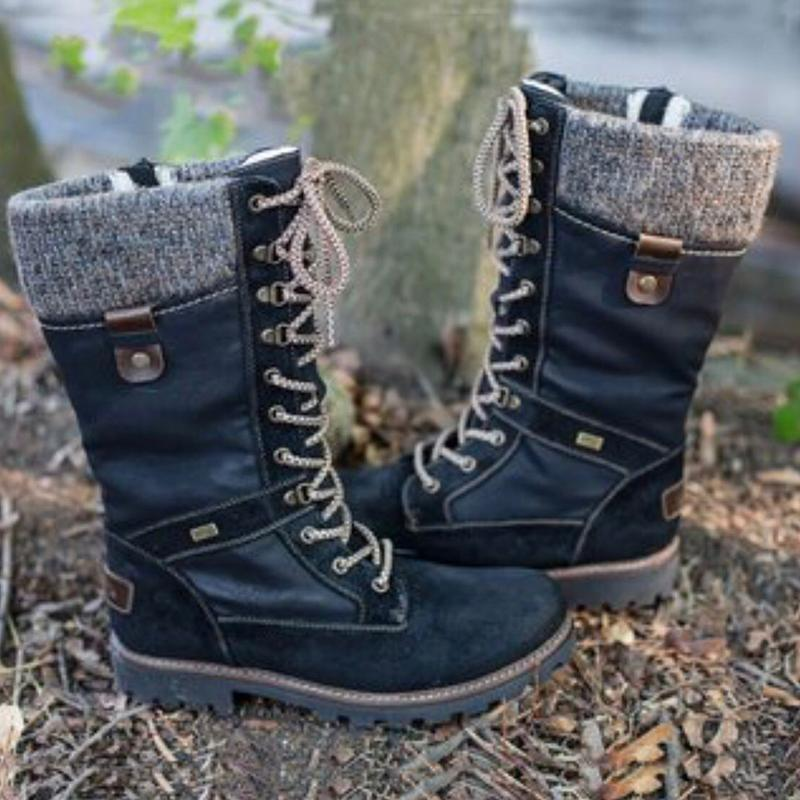 2019 New Military Boots Cotton Lace Up Women's Snow Boots - fashionshoeshouse