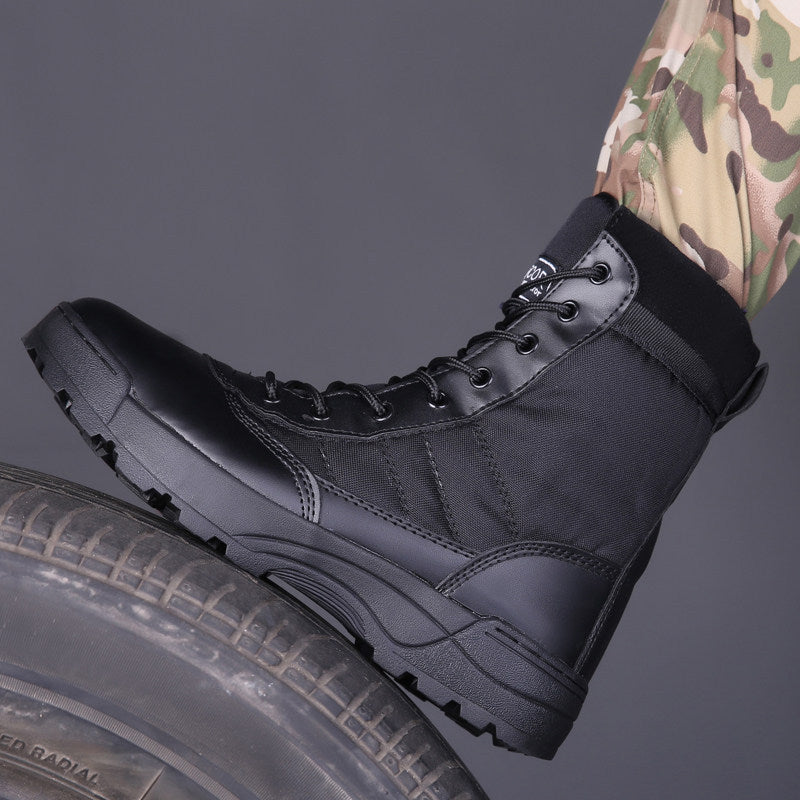 Men's tactical military combat boots working safety shoes with zipper