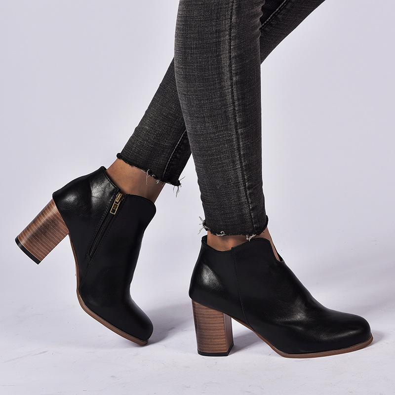 Women Fashion Winter Zipper Chunky Heel Platform Boots - fashionshoeshouse