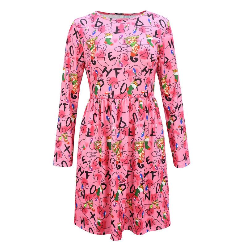 Christmas Loose Waist Long Sleeve Print Midi Dress - fashionshoeshouse
