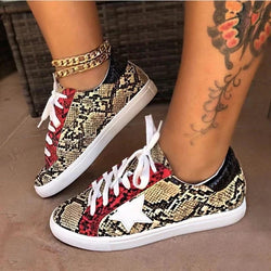 Women Snakeskin Sneakers Flat Heel Comfy Walking Sneakers - fashionshoeshouse