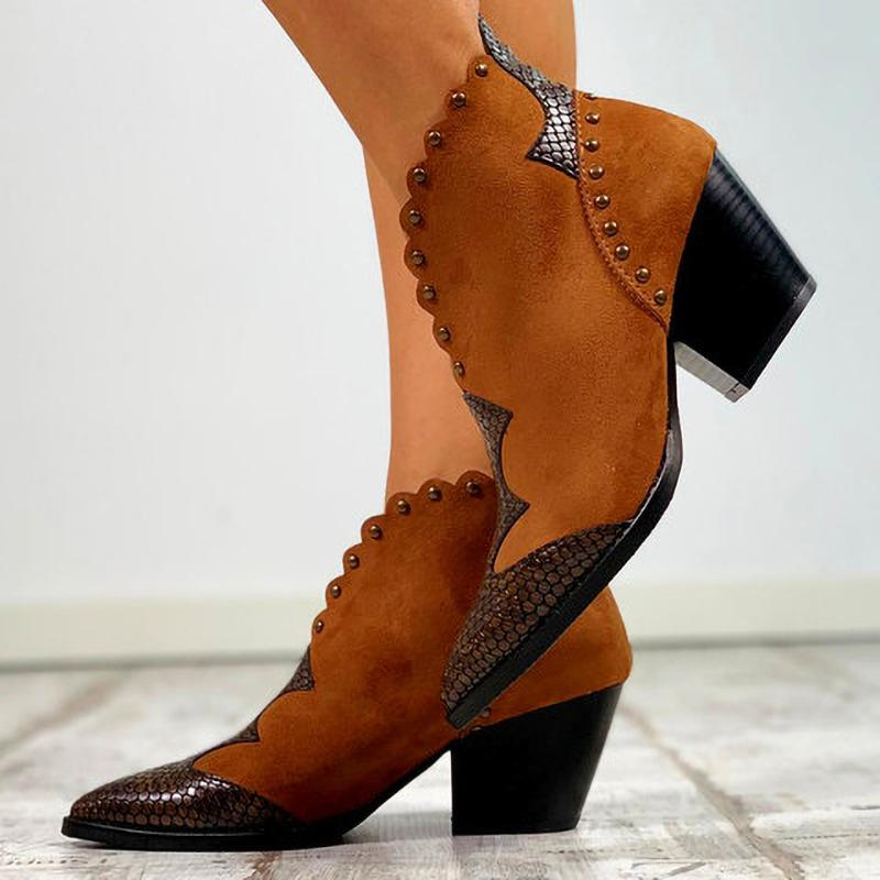 Women Chunky Heel Snakeskin Sequin Pointed Toe Rivet Booties - fashionshoeshouse