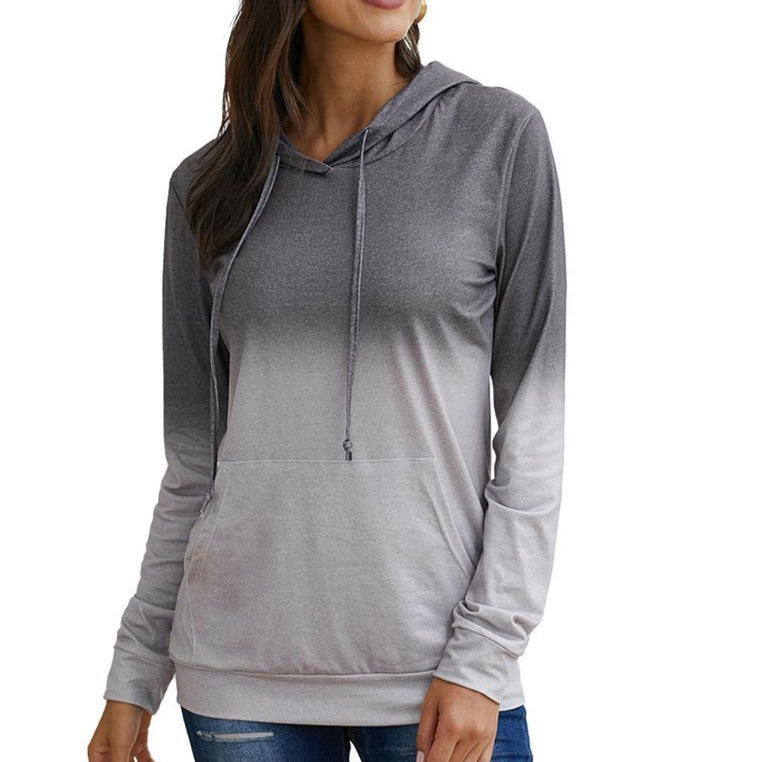 Fashion Hoodie With Pocket Drawstring Gradient Color Block Sweatshirt - fashionshoeshouse