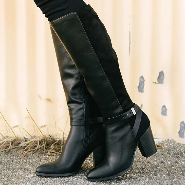 Women's fashion dress boots block heel knee high pointed toe boots