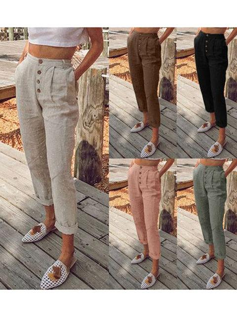 5 Colors Plain Button Pocket Linen Pants - fashionshoeshouse