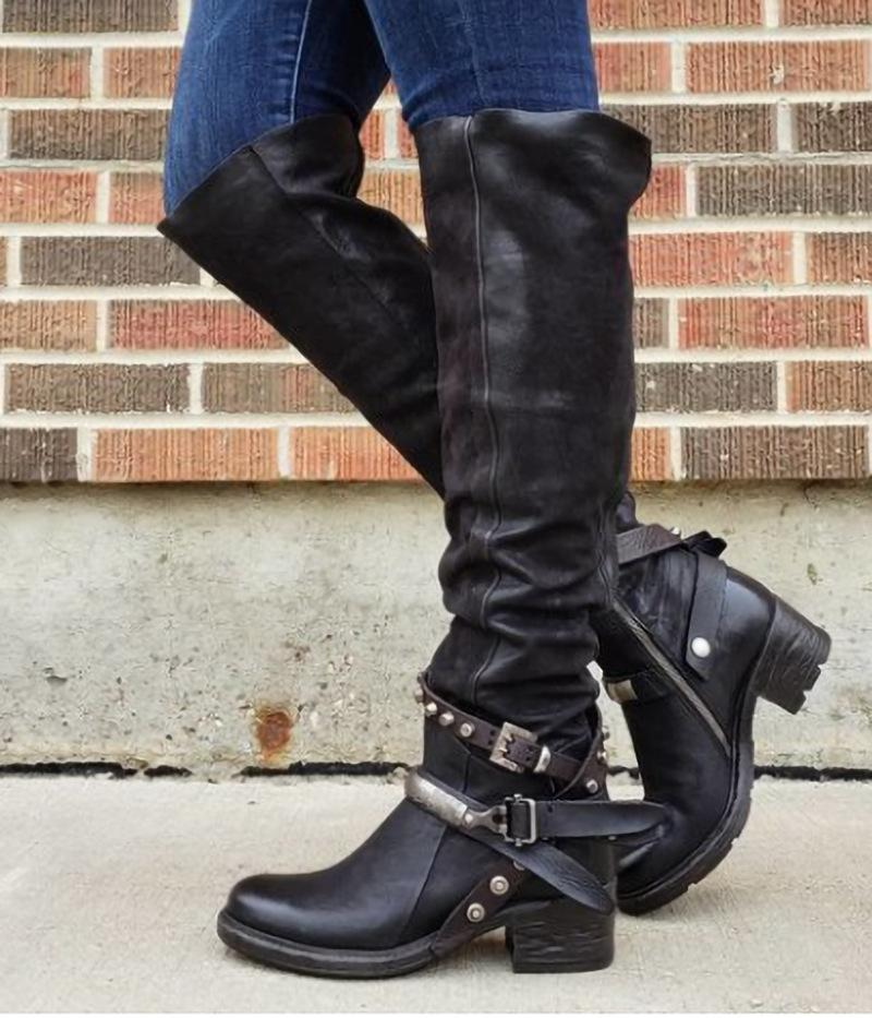 Winter Women Wide Calf Boots Chic Rivet Buckle Chunky Platform Knee High Boots - fashionshoeshouse