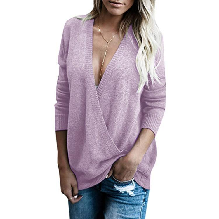 Women Pure Color V Neck Purple Tunic Sweater - fashionshoeshouse