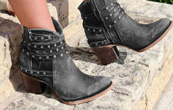 Women Pointed Toe Short Chunky Heel Studded Ankle Boots