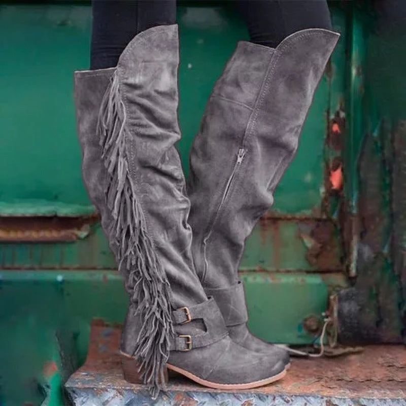 Women Chunky Heel Fringe Over The Knee Boots