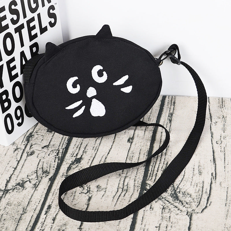 Cute cat pattern canvas bags crossbody bags - fashionshoeshouse