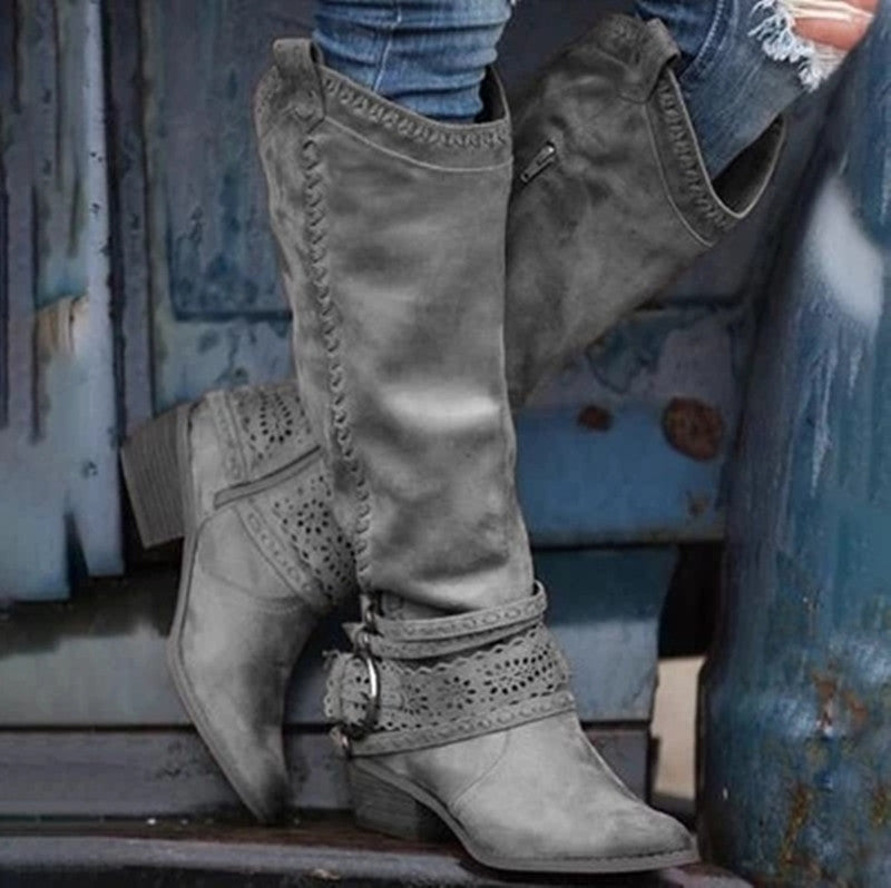 Women Buckle Strap Square Heel Knight Boots