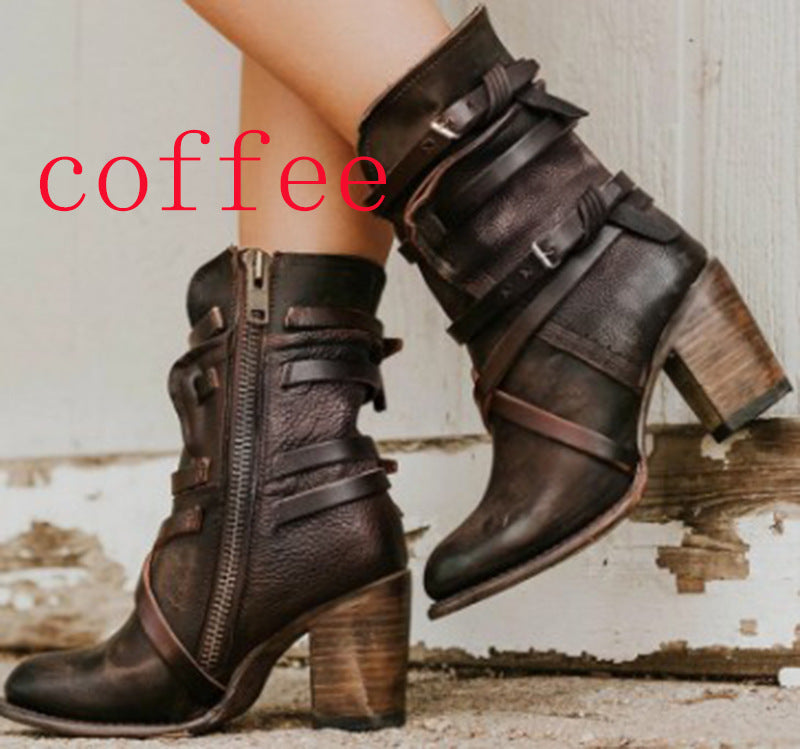 Women Winter Straps Chunky Stacked Heel Booties