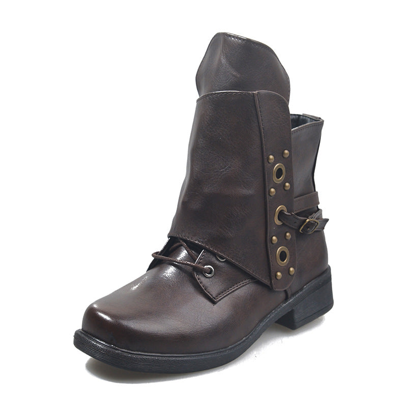 Winter Fall Retro Square Toe Leather Boots For Women