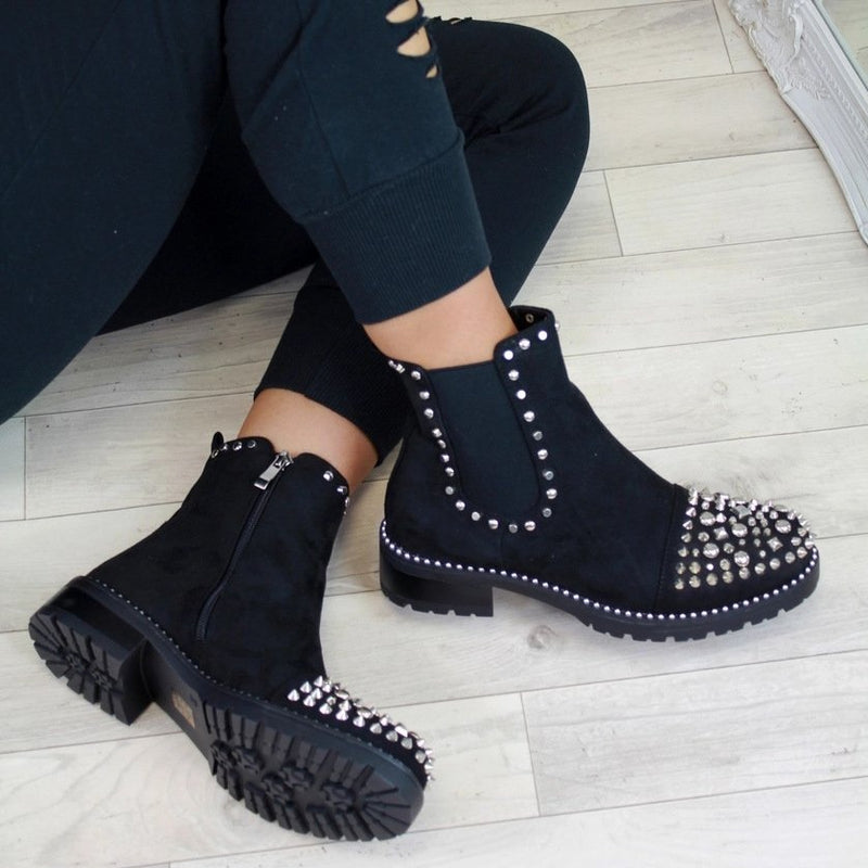 Studded Chunky Platform Black Chelsea Boots Women