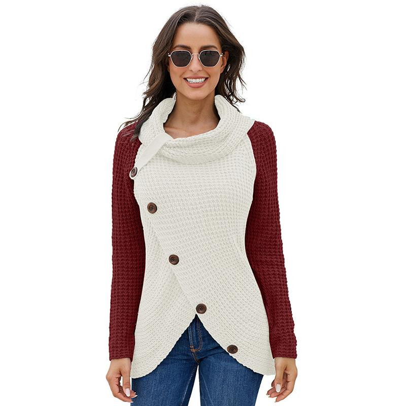 Women Asymmetrical Color Block Buckles Turtle Neck Knit Sweater - fashionshoeshouse