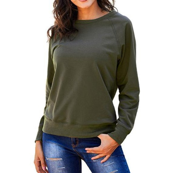 Casual Solid Color Long Sleeve Crewneck Sweatshirt For Women - fashionshoeshouse