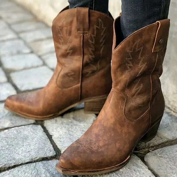 Women Pointed Toe Chunky Platform Wide Calf Cowboy Boots