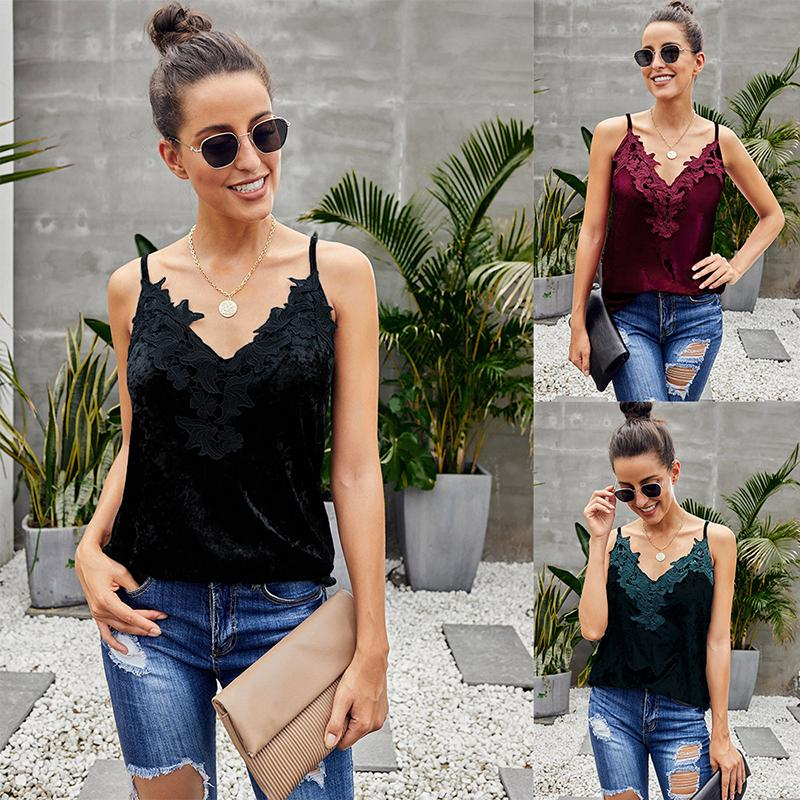 Women Lace Slim V Neck Sling Joker Tops For Women - fashionshoeshouse