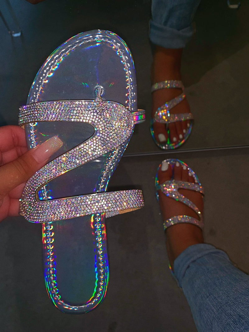 Sparkling Beads Glitter Flat Slide Sandals Women Shiny Slipper - fashionshoeshouse