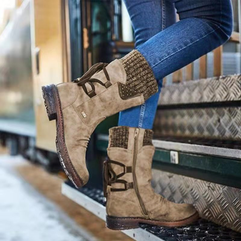 Winter Retro Chunky Back Lace Up Women's Snow Boots
