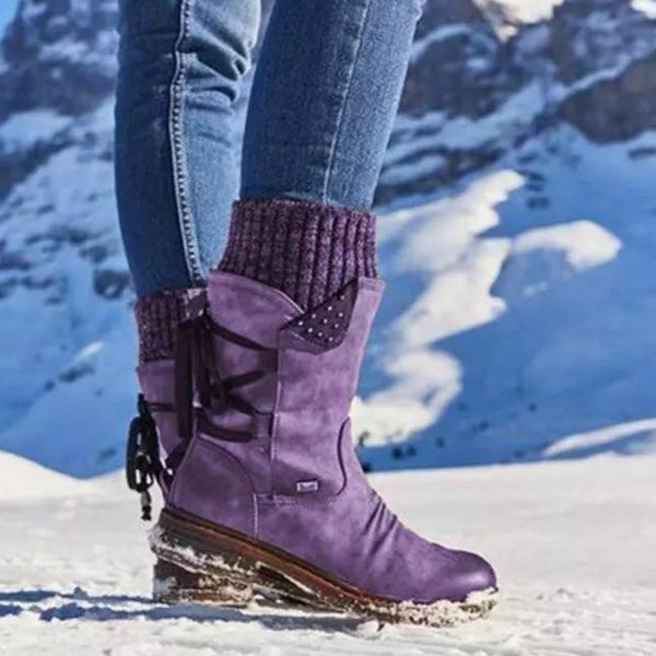 Women's mid-calf sweater cuff snow boots flat back lace boots with zipper