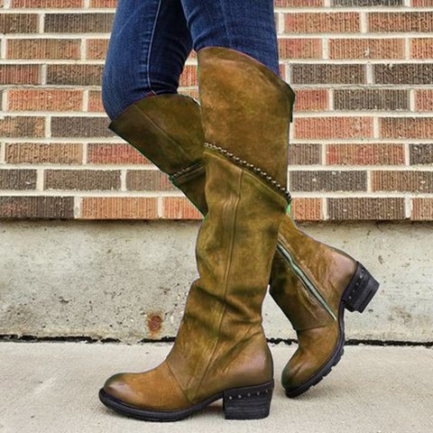 Women Western Round Toe Chunky Platform Boots