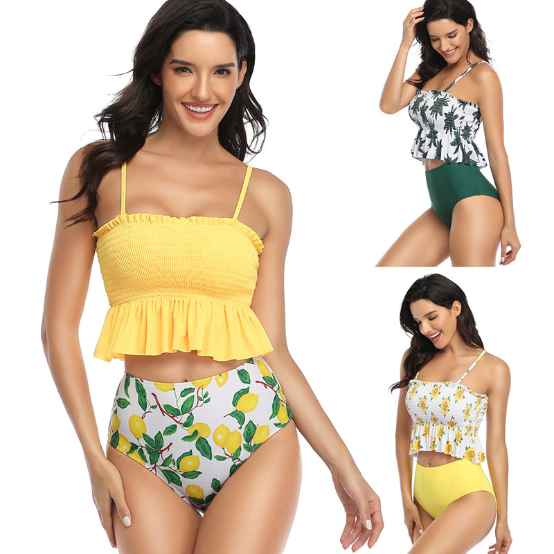 Printed Sexy Sling Two Piece Bathing Suits - fashionshoeshouse