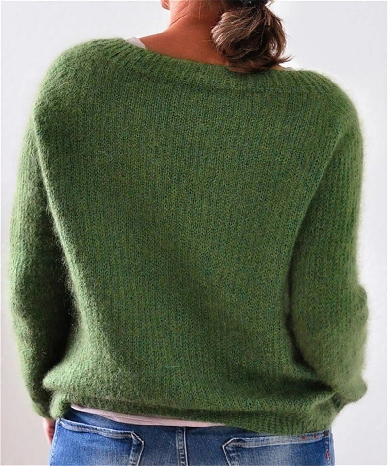 Plus Size Women Pullovers Solid Knitted Sweaters - fashionshoeshouse