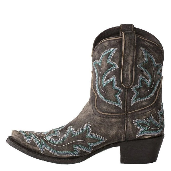 Retro short cowboy boots pointed toe block heel western boots