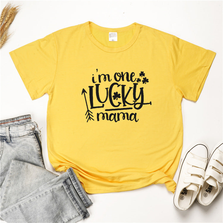 I'm One Lucky Mama Summer Women Tops - fashionshoeshouse