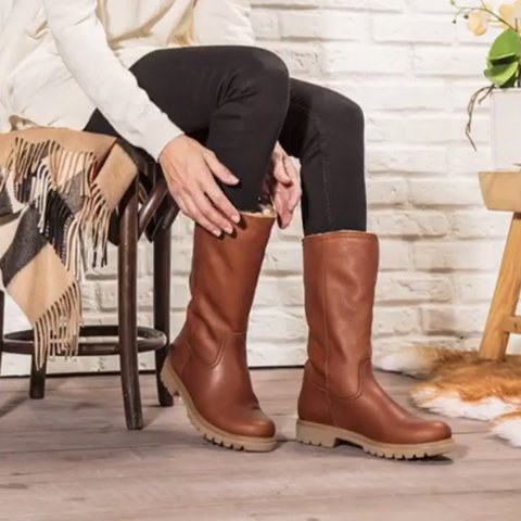 Lining Fur Snow Boots Women Brown Platform Booties - fashionshoeshouse