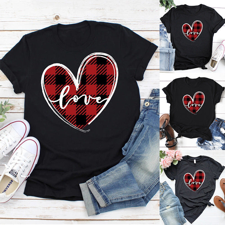 Couples Love Print Black Casual Tops - fashionshoeshouse