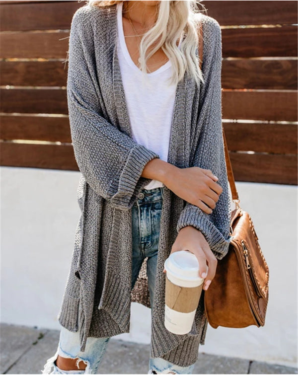 Womens solid color open front knitted cardigan sweater
