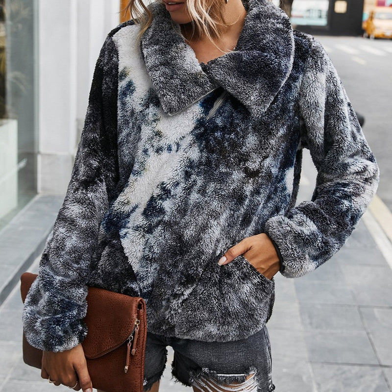 Women's fashion tie dye sweater fuzzy warm chunky sweater with polo neck