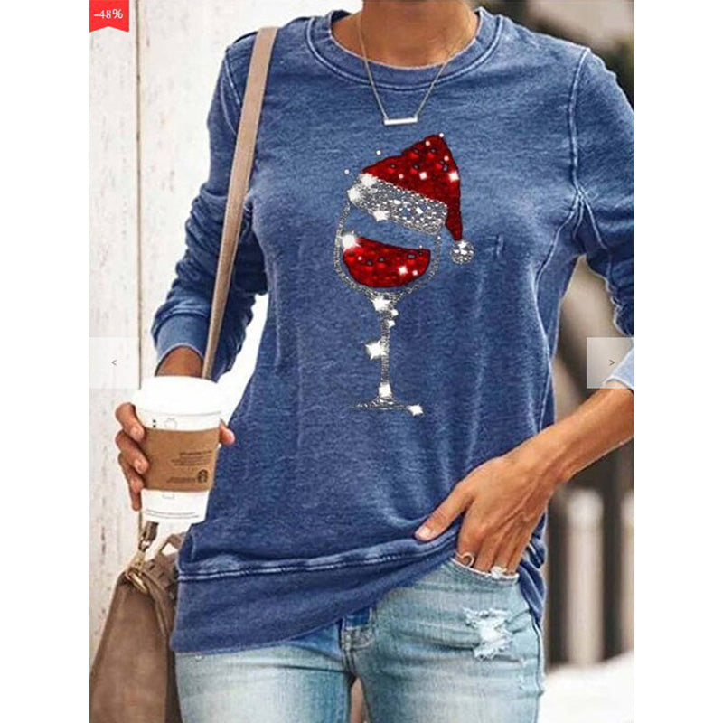 Women's Chritmas wine glass hat print pullover crewneck sweatshirts fall/winter loose tops