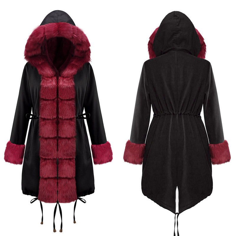Plus Size Winter Faux Fur Cotton Hooded Overcoat