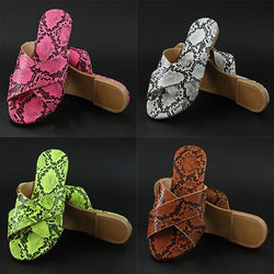 Women Snakeskin Criss Cross Strap Slide Sandals