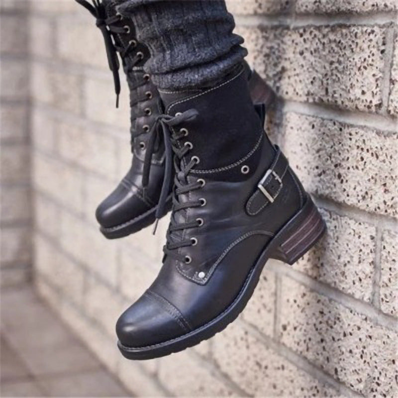Womens Ankle Booties Criss Cross Lace Up Boots