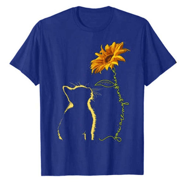 Cat And Sunflower Summer Loose Shirts & Tops - fashionshoeshouse