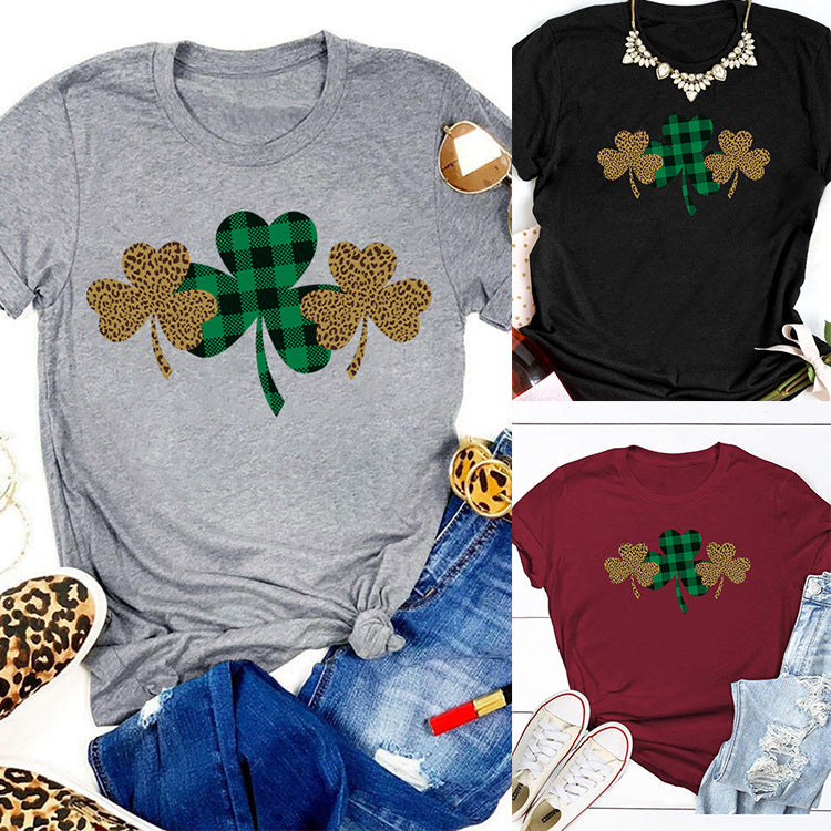 Women Cute Leopard Clover Print Shirts & Tops - fashionshoeshouse