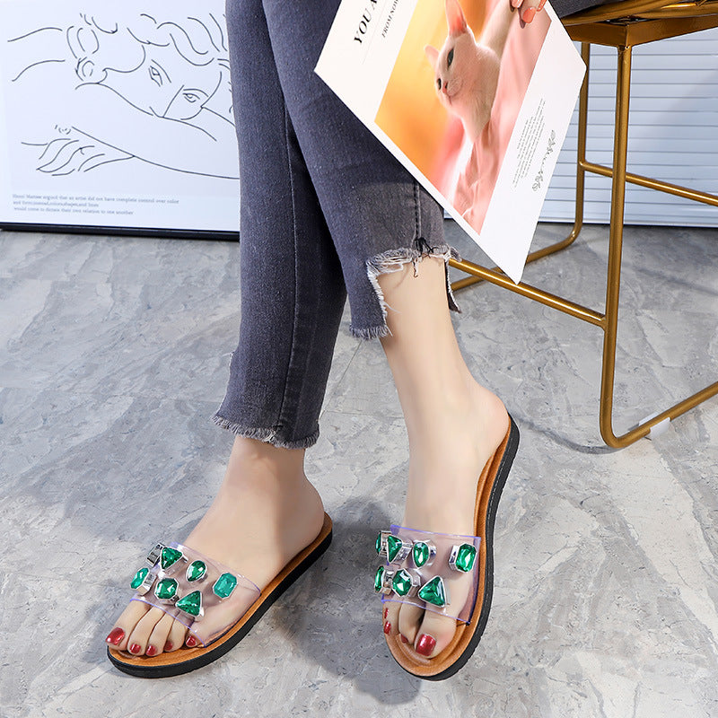 Sparkling Rhinestone Clear Strap Women's Slide Sandals
