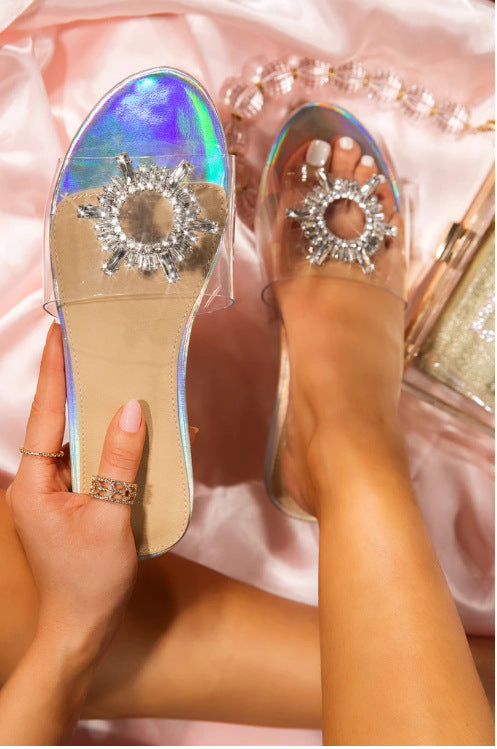 Women Clear Strap Rhinestone Beach Slide Flat Sandals