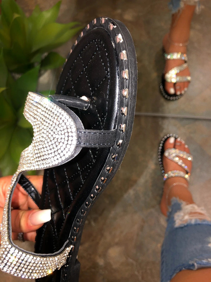 Women Summer Slip On Studded Rhinestone Silver Sandals